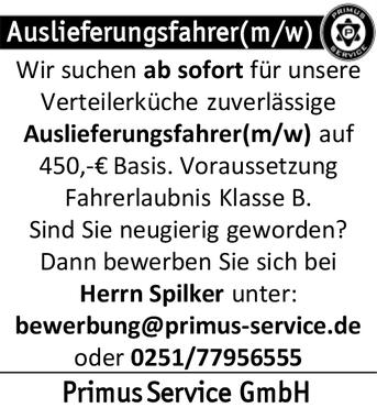 primus service gmbh - Bewerbung Als Auslieferungsfahrer